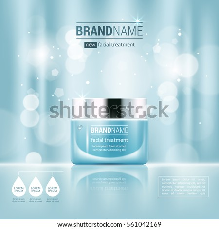 Facial cream glass jar realistic vector illustration isolated on blue bokeh background. Cosmetic ad mock up template for sale poster design #561042169
