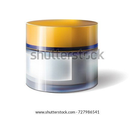 Facial cream glass jar realistic vector illustration isolated on white background. Cosmetic template for sale poster design Zdjęcia stock ©