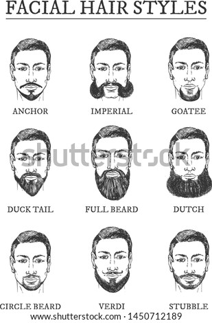 Facial hair styles barber guide. Beards, moustaches. Anchor, imperial, goatee, duck tail, full beard, dutch, circle, Verdi, stubble. Vintage hand drawn engraving man grooming barbershop style poster
