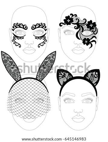 facial lacy black elegant mask
