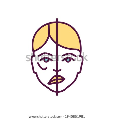 Facial paralysis RGB color icon. Moving face muscles inability. Nerve damage. Trauma, heart stroke, brain tumor. Asymmetric face. Facial drooping, weakening. Bell palsy. Isolated vector illustration Foto stock ©