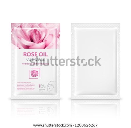 Facial sheet mask sachet package mockup set. Vector realistic illustration isolated on white background.