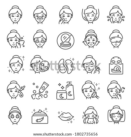 Facial skin care, icon set. The woman applies products for healthy skin, linear icons. Gram, mask, cosmetics for young elastic skin. Line with editable stroke