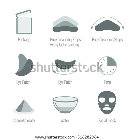 Facial skin care icons set. Cleansing the skin and maintain healthy skin. Skin health, symbols collection. Isolated vector illustration. Pore Cleansing Strips, Facial mask, Eye Patch