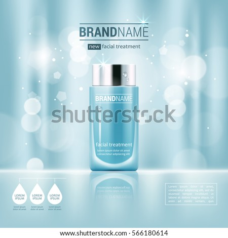 Facial treatment cream realistic vector illustration isolated on blue bokeh background. Cosmetic add mock up template for sale poster design
