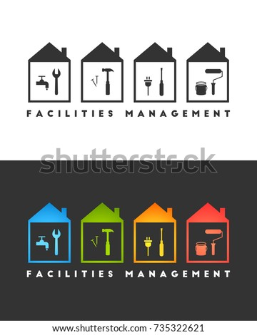 Facilities management logo concept. Wrench, hammer, screwdriver and paint roller icons.