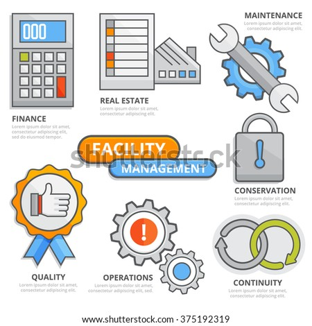 Facility management design concept, finance, real estate, quality, operations, maintenance, conservation, continuity, strategy. Modern isolated vector illustration, Infographic template.