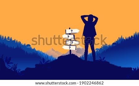 Facing multiple choices - Silhouette of young man in front of crossroad sign pointing in multiple directions. Life choices concept. Vector illustration.