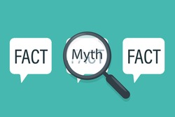 Fact Myth speech bubble concept design. Clipart image.