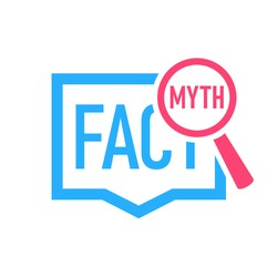 Fact Myth speech bubble concept icon. Clipart image isolated on white background.