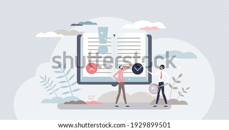 Fact research and fake news analysis to check information truth tiny person concept. Myth, propaganda recognition from quality and accurate media vector illustration. Search evidence for read text. Сток-фото ©