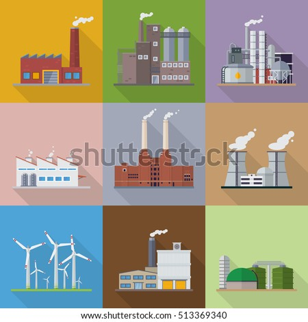 Factories and power plants flat design long shadow vector illustration. Industrial buildings from factory over refinery to Nuclear Power Station