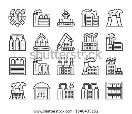 Factories icons. Factory and Industry line icon set. Vector illustration. Editable stroke.