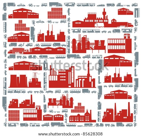 Factories, streets and various vehicles - an industrial city color vector cartoon illustration set