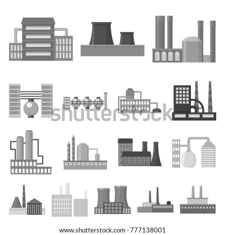 Factory and facilities monochrome icons in set collection for design. Factory and equipment vector symbol stock web illustration.