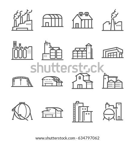 Factory and industrial vector line icon set. Included the icons as factory, silo, warehouse, workshop and more.