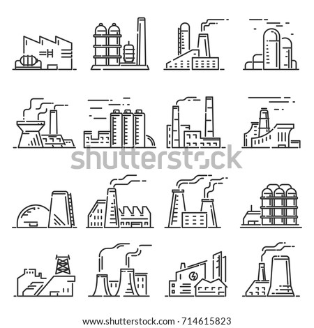 Factory building outline set. Steel construction of metal industrial and commercial architecture. Factory icon vector line art illustration isolated on white background.