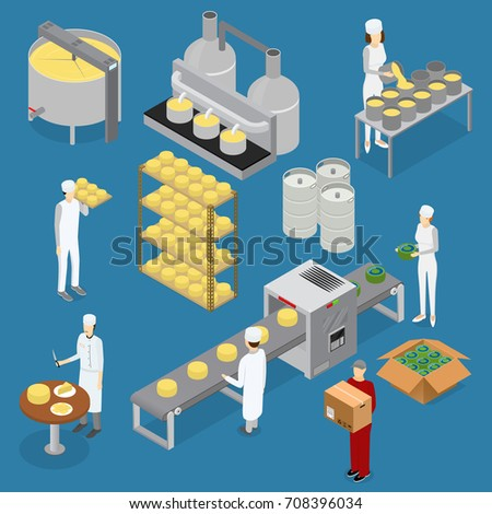 Factory Cheese Production Line Elements and Staff Isometric View Technology Service Process of Cooking Dairy Product. Vector illustration of Prepare Cheese