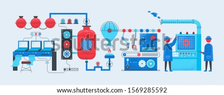 Factory conveyor concept. Industrial manufacturing technology process, computerized smart factory. Production vector illustration background with worker machines for business industries engineering