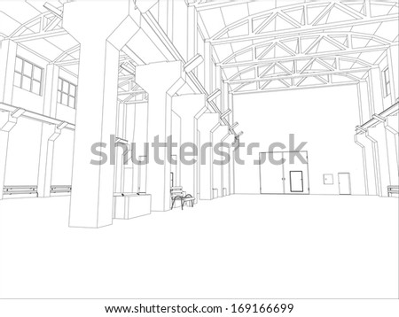 Factory environment. Wire-frame. Vector EPS10 format. Vector rendering of 3d