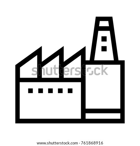 Factory flat line icon. Commercial real estate property linear vector illustration. Manufacturing plant or production facility isolated on white background.