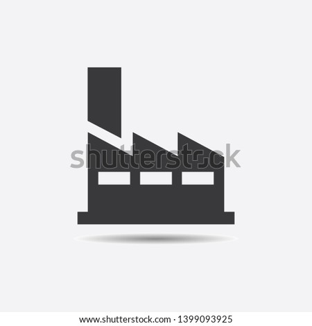 Factory icon. Black silhouette of manufacturing objects isolated on grey background.