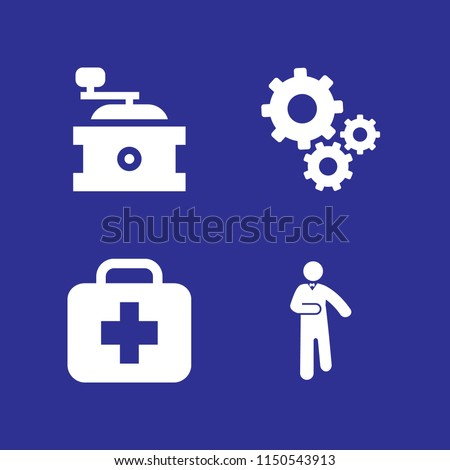 factory icon. 4 factory set with gear, worker, grinder and treatment vector icons for web and mobile app