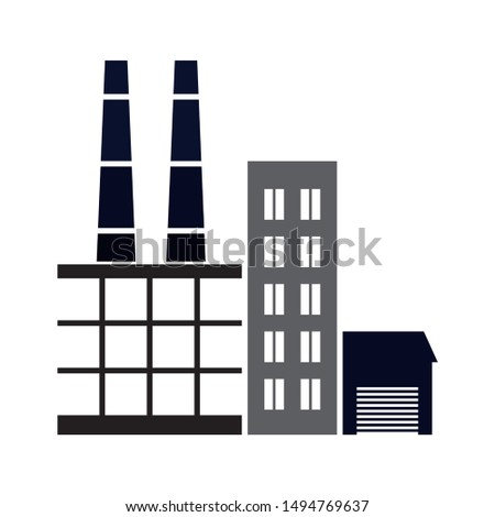 factory icon. flat illustration of factory - vector icon. factory sign symbol