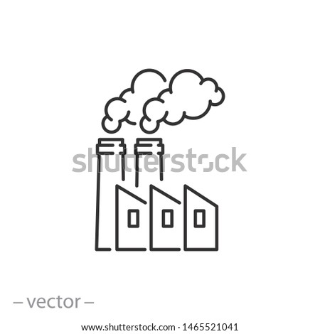 factory icon, pollution, industry, thin line symbol for web and mobile phone on white background - editable stroke vector illustration eps 10