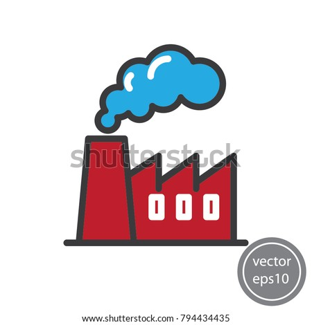 Factory icon, simple line sign, vector illustration of Eps10