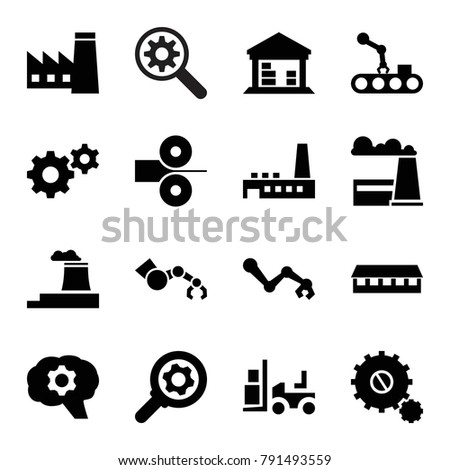 Factory icons. set of 16 editable filled factory icons such as factory, barn, gear, forklift, robot arm, cargo barn, conveyor and robot arm