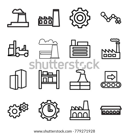 Factory icons. set of 16 editable outline factory icons such as factory, gear, forklift, robot arm, cargo barn, clock in gear, building, conveyor