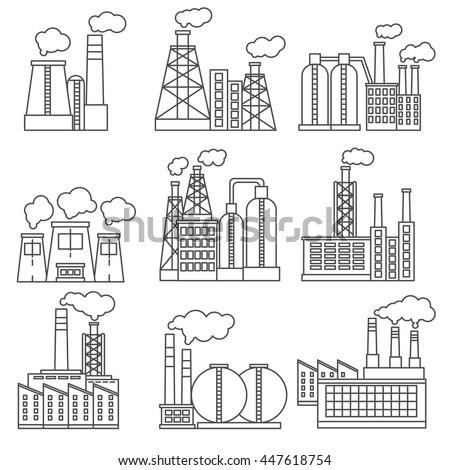 factory icons set thin line design
