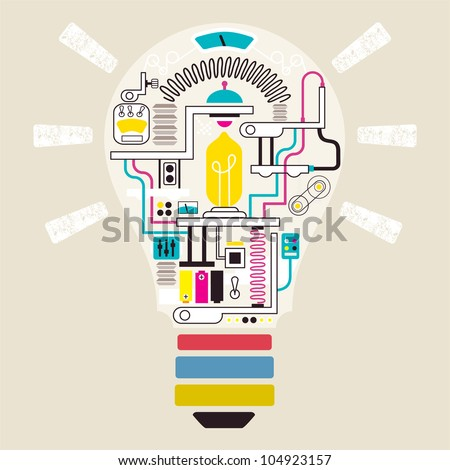 Factory in lamp, vector illustrator - stock vector