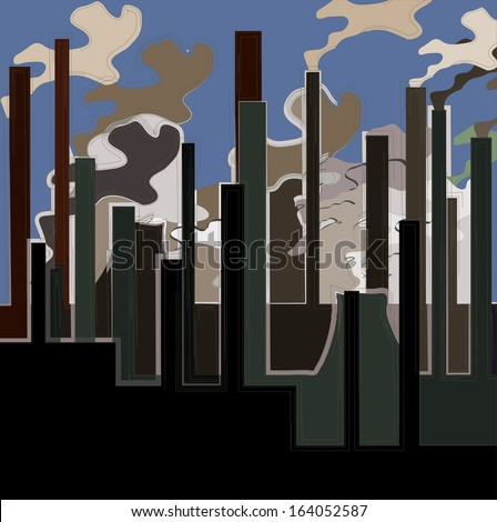 Factory. Industrial building factory, smoke from the chimneys, vector illustration.