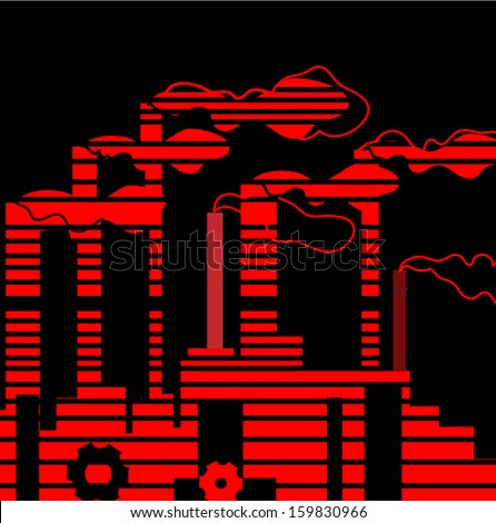 Factory. Industrial building factory, smoke from the chimneys, vector illustration in social art stile.