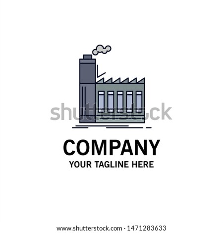Factory, industrial, industry, manufacturing, production Flat Color Icon Vector. Vector Icon Template background
