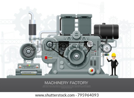 Factory Industrial machine convoy unit construction engineering manufacturing equipment  with engineer vector illustration