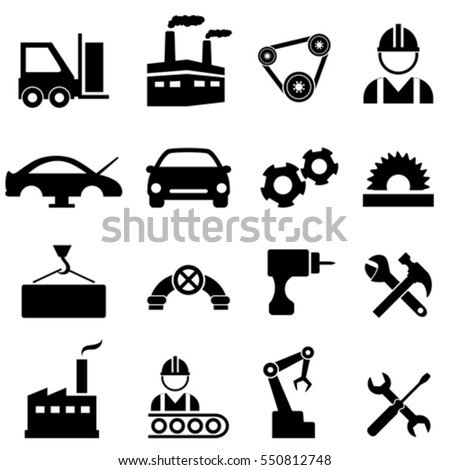 Factory, manufacturing and industry icons
