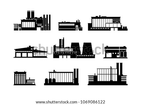 Factory, manufacturing plant and warehouse black silhouette icons isolated. Factory construction building, production and manufacturing, vector illustration