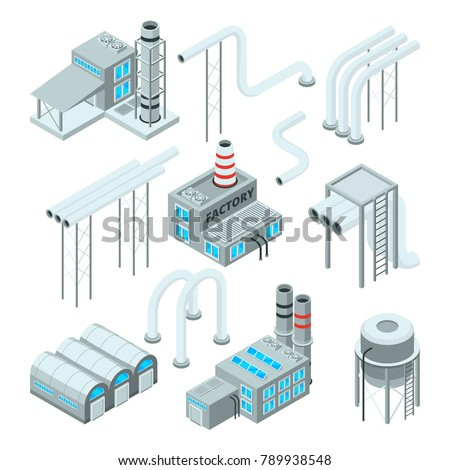 Factory pipe and set of industrial buildings. Isometric style pictures. Industry factory and industrial pipe for plant, vector illustration