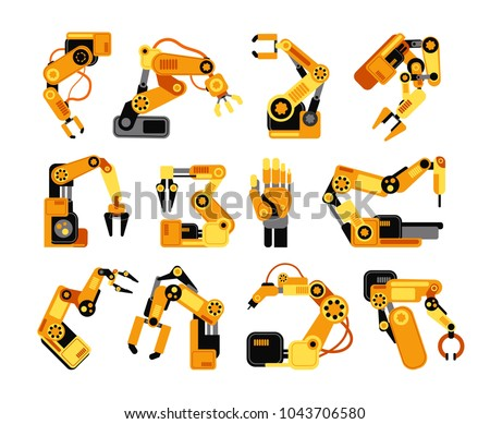 Factory robot arms manufacturing industrial equipment vector set. Illustration of robot arm equipment for factory industry