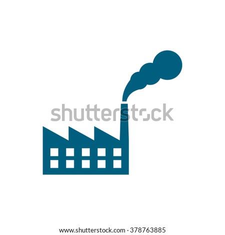 Factory. Vector icon blue