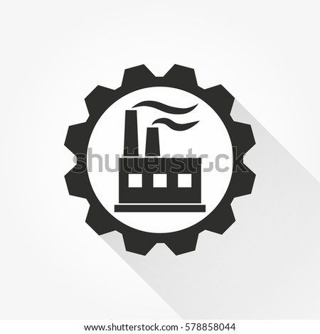 Factory vector icon with long shadow. Black illustration isolated on white background for graphic and web design.
