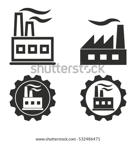 Factory vector icons set. Illustration isolated for graphic and web design.