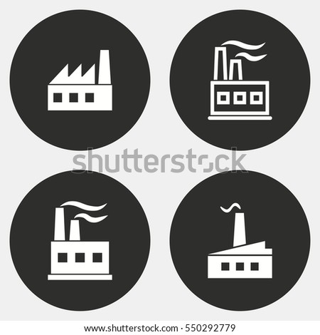 Factory vector icons set. White illustration isolated for graphic and web design.