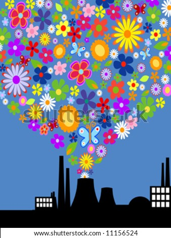 Factory with colorful flower smoke. Vector art
