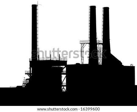Factory with Smokestacks Silhouette