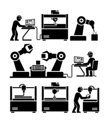 Factory worker working with machinery vector icons. CNC milling engraving. Laser cutter. 3D printer. Robotic production line.