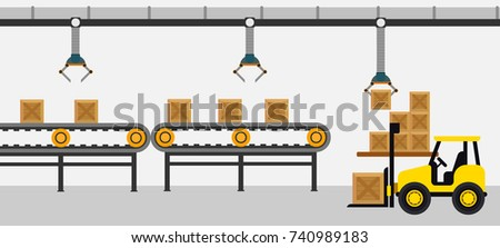 Factory working conveyer belt with wooden box and forklift vector illustration